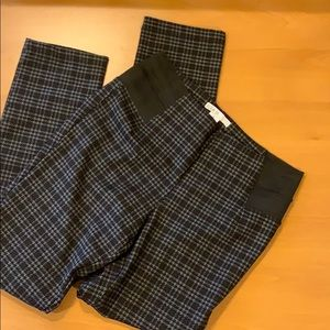 Stretch Plaid Trousers with Elastic Side Panels
